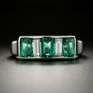 Estate Emerald and Diamond Band Ring - 3