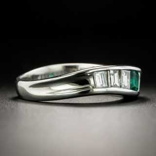 Estate Emerald and Diamond Curved Band Ring