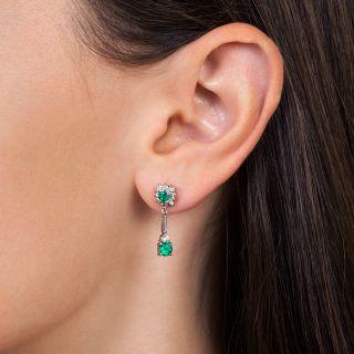 Estate Emerald and Diamond Dangle Earrings