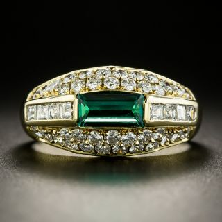 Estate Emerald and Diamond Domed Band Ring - GIA - 2