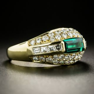 Estate Emerald and Diamond Domed Band Ring - GIA No Treatment