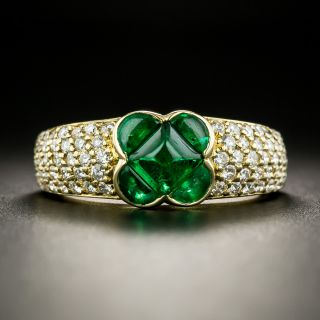 Estate Emerald and Diamond Four-Leaf Clover Ring - 2