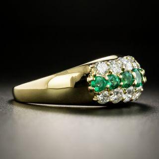 Estate Emerald and Diamond Three Row Band Ring