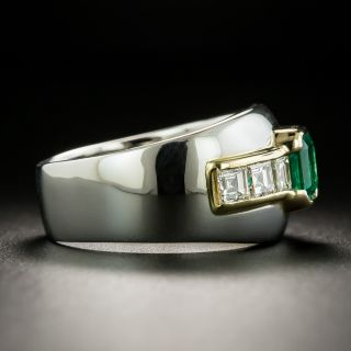 Estate Emerald and Diamond Wide Band Ring