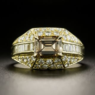 Estate 1.05 Carat Emerald-Cut Natural Fancy Brown-Yellow Diamond Ring - GIA - 1