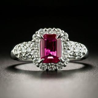 Estate Emerald-Cut Burmese Ruby and Diamond Ring - 1