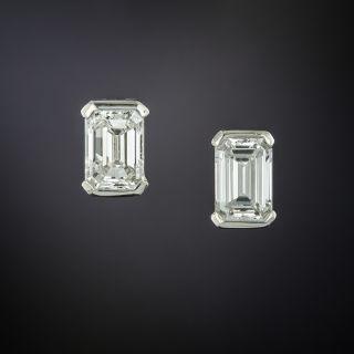 Estate Emerald-Cut Diamond Stud Earrings - 79 Carat Total Weight - 4