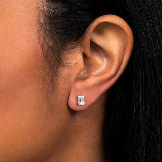 Estate Emerald-Cut Diamond Stud Earrings - .79 Carat Total Weight