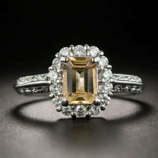 Estate Emerald-Cut Topaz and Diamond Ring - 1