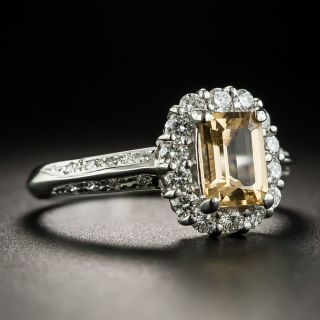 Estate Emerald-Cut Topaz and Diamond Ring