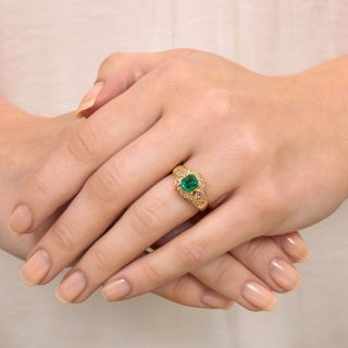 Estate .60 Carat Emerald and Diamond Ring
