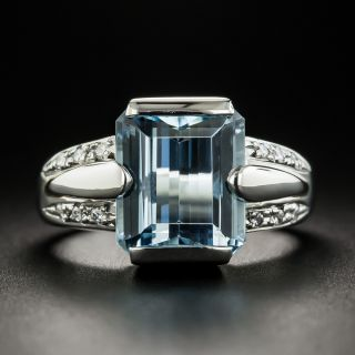 Estate EmeraldCut Aquamarine and Diamond Ring - 1