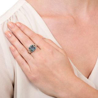 Estate Emerald-Cut Aquamarine Platinum Diamond Ring