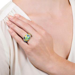Estate Enamel And Diamond Flower Power Ring