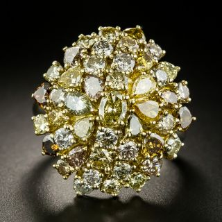 Estate Fancy Colored Diamond Cluster Ring - 2