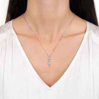 Estate Five Stone Emerald-Cut Diamond Drop Necklace