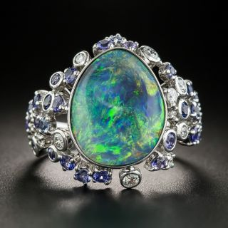 Estate Free Form Opal, Sapphire and Diamond Ring  - 1