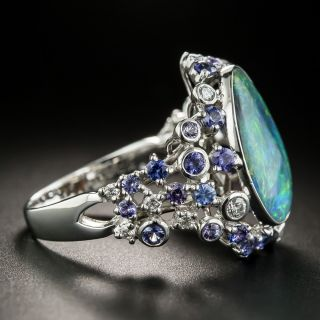 Estate Free Form Opal, Sapphire and Diamond Ring