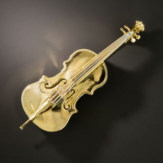 Estate Cello Brooch  - 2