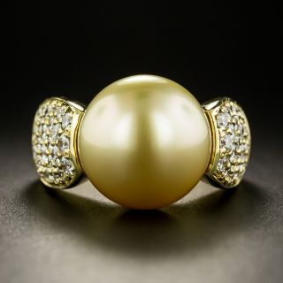 Estate Golden South Sea Pearl and Diamond Ring - 3