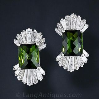 Estate Green Tourmaline and Diamond Earrings - 1