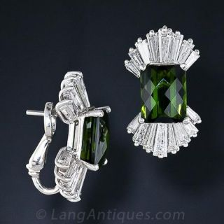 Estate Green Tourmaline and Diamond Earrings