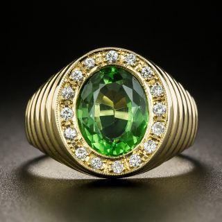 Estate Green Tourmaline Signet Style Ring - 2