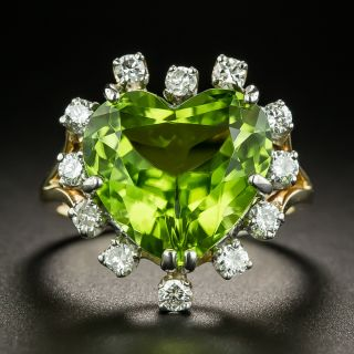Estate Heart-Shaped Peridot and Diamond Cocktail Ring - 2