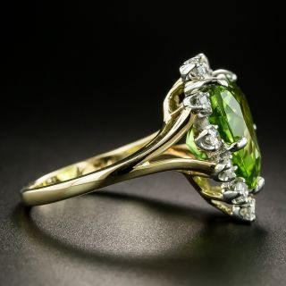 Estate Heart-Shaped Peridot and Diamond Cocktail Ring