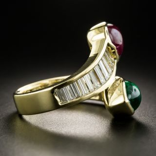 Estate Heart-Shaped Ruby and Emerald Cabochon and Diamond Bypass Ring
