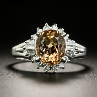 Estate Imperial Topaz and Diamond Ballerina Ring - 2