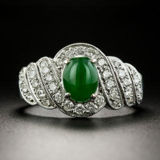 Estate Jade Cabochon and Diamond Spiral Ring - 2