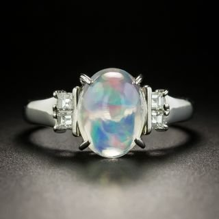 Estate Jelly Opal Cabochon and Diamond Ring - 2