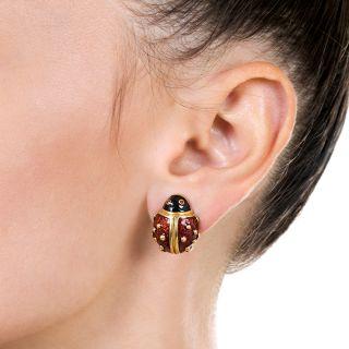 Estate Lady Bug Enamel Earrings by Hidalgo