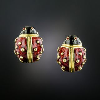 Estate Lady Bug Enamel Earrings by Hidalgo - 3