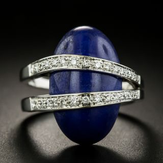 Estate Lapis and Diamond Moderne Ring  - 3