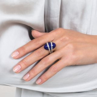 Estate Lapis and Diamond Moderne Ring