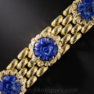 Estate Lapis and Gold Link Bracelet - 1