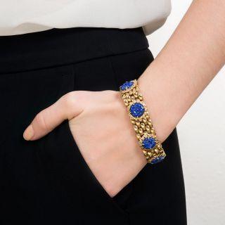 Estate Lapis and Gold Link Bracelet