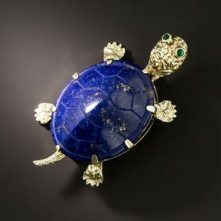 Estate Lapis Lazuli Turtle Brooch - 2