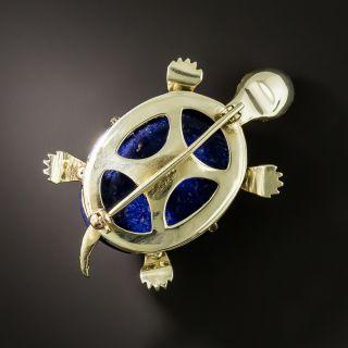 Estate Lapis Lazuli Turtle Brooch