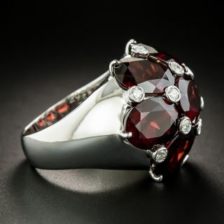 Estate Large Scale Garnet and Diamond Dome Ring