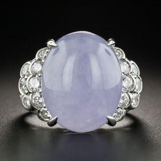 Estate Lavender Jade Cabochon and Diamond Ring - 1