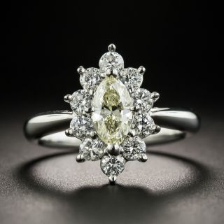 Estate Light Yellow Marquise Diamond Platinum Ring - 1