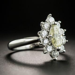 Estate Light Yellow Marquise Diamond Platinum Ring