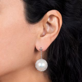 Estate Mabe Pearl and Diamond Drop Earrings