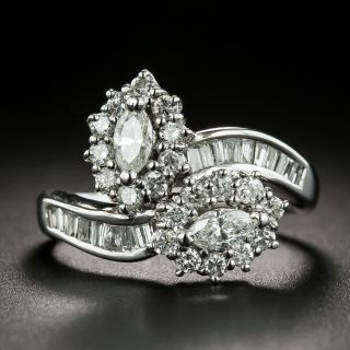 Estate Marquise-Cut Diamond Bypass Ring - 4