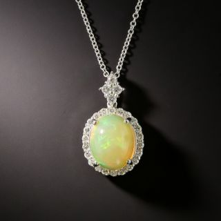 Estate Mexican Opal and Diamond Pendant - 2