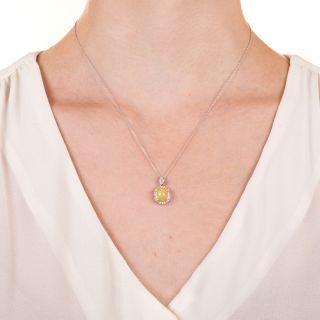 Estate Mexican Opal and Diamond Pendant