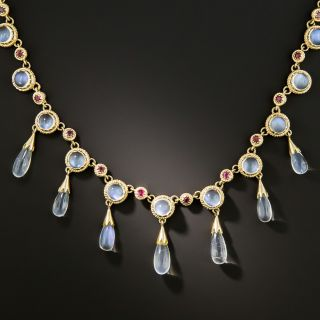 Estate Moonstone and Ruby Necklace - 3